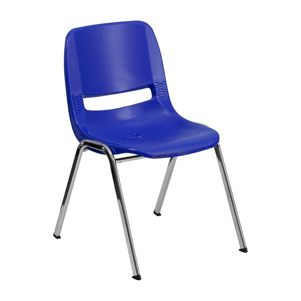 """Offex HERCULES Series 440 lb Capacity Navy Ergonomic Shell Stack Chair with Chrome Frame and 14"""" Seat Height"""
