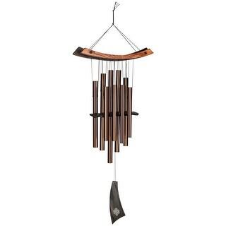 "Woodstock Percussion Healing Wind Chime - Outdoor Hanging Bronze Wind Bells - Ash and Teak Wood - Hangs 34"""
