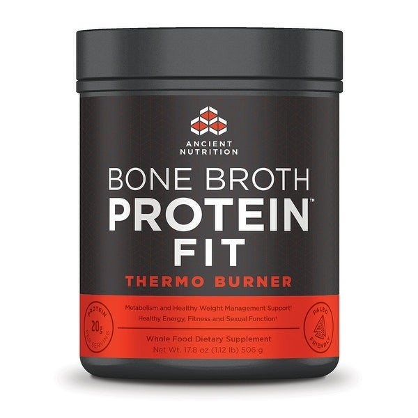 Ancient Nutrition Bone Broth Protein FIT Thermo Burner - 20 Servings - Metabolism - Weight Management - Energy & Fitness