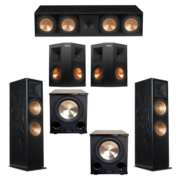 Klipsch 5.2 Black Ash System with 2 RF-7III Floorstanding Speakers, 1 RC-64III Center Speaker, 2 Klipsch RP-250S Surround Speake
