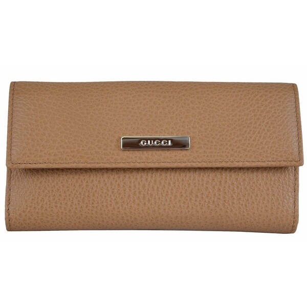 "Gucci 143389 Women's Whisky Beige Leather Metal Plaque Continental Wallet - 7"" x 3.5"""