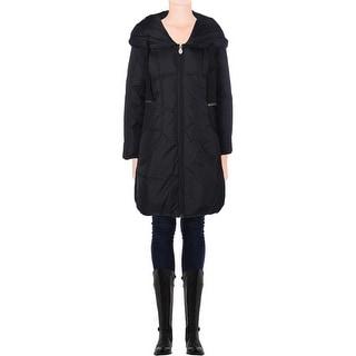 Tahari Womens Taryn Hooded Smocked Sides Coat