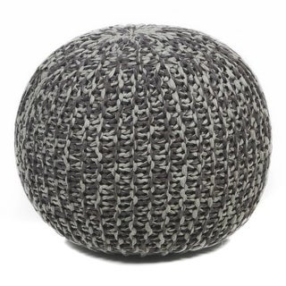 Chandra Rugs Poufs 127 Brown and Grey Cotton Handmade Pouf - brown / grey