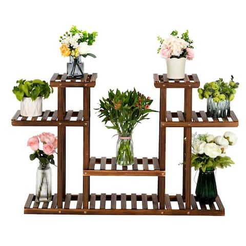 7/10/11/12-Seat Indoor and Outdoor Multi-Function Carbonized Wood Plant Stand,Display Stand