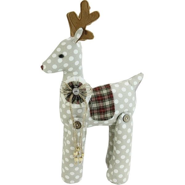 """20"""" Brown and White Polka Dot Reindeer Christmas Decoration"""
