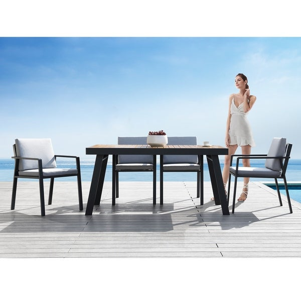 Higold 6801 Nofi 7 Pieces Outdoor Dining Set for 6 seaters with Grey Cushions, Aluminum Frame, Imitated Teak Tabletop. Opens flyout.
