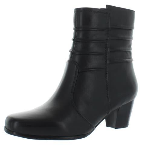 David Tate Womens Pavilion Booties Leather Stacked Heel - Black/Lamb