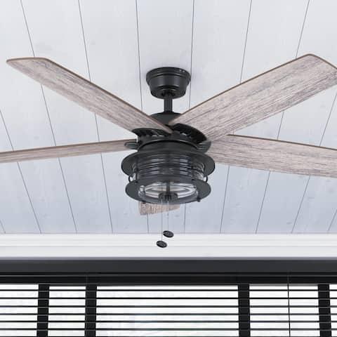 "52"" Honeywell Foxhaven Indoor/Outdoor Farmhouse Ceiling Fan, Matte Black"