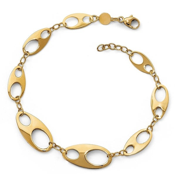 Italian 14k Gold Polished with .5in ext. Bracelet - 7 inches