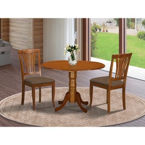 Saddle Brown Round Kitchen Table and 2 Dinette Chairs 3-piece Dining Set