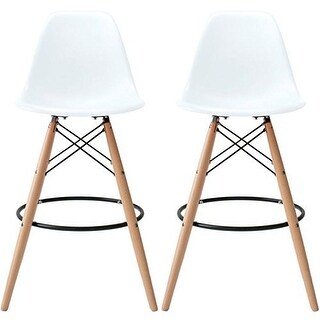 2xhome - 28-inch Eames Chair DSW White Counter Stool Bar Stool (Set of 2)