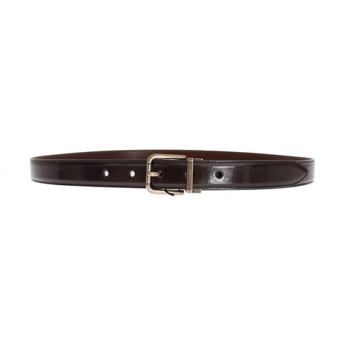 Dolce & Gabbana Brown Shiny Leather Gold Buckle Belt