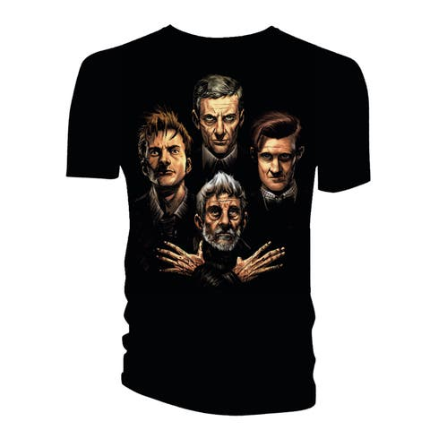 Doctor Who Classic Mens T-Shirt 4 Doctors Faces