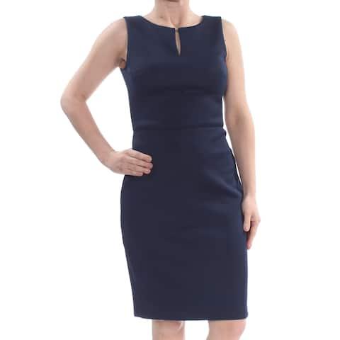 179f2745957 DKNY Womens Navy Zippered Darted Sleeveless Keyhole Knee Length Sheath Wear  To Work Dress Size
