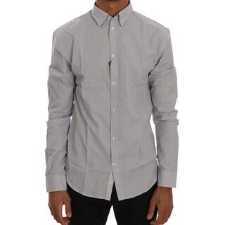 Frankie Morello Frankie Morello White Blue Check Casual Cotton Regular Fit Shirt