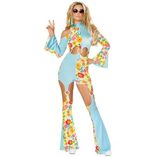 Radical Hippie Costume, Hoty Hippie Costume - Blue/Multi