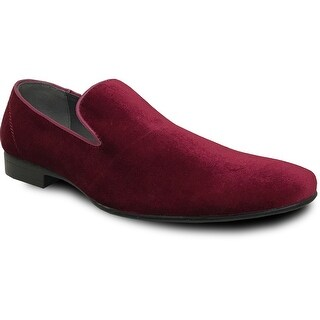BRAVO Men Dress Shoe KLEIN-7 Loafer Shoe Burgundy Velvet with Leather Lining