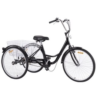 Costway 26'' Single Speed 3-wheel Bicycle Adult Tricycle Seat Height Adjustable w/ Bell - Black