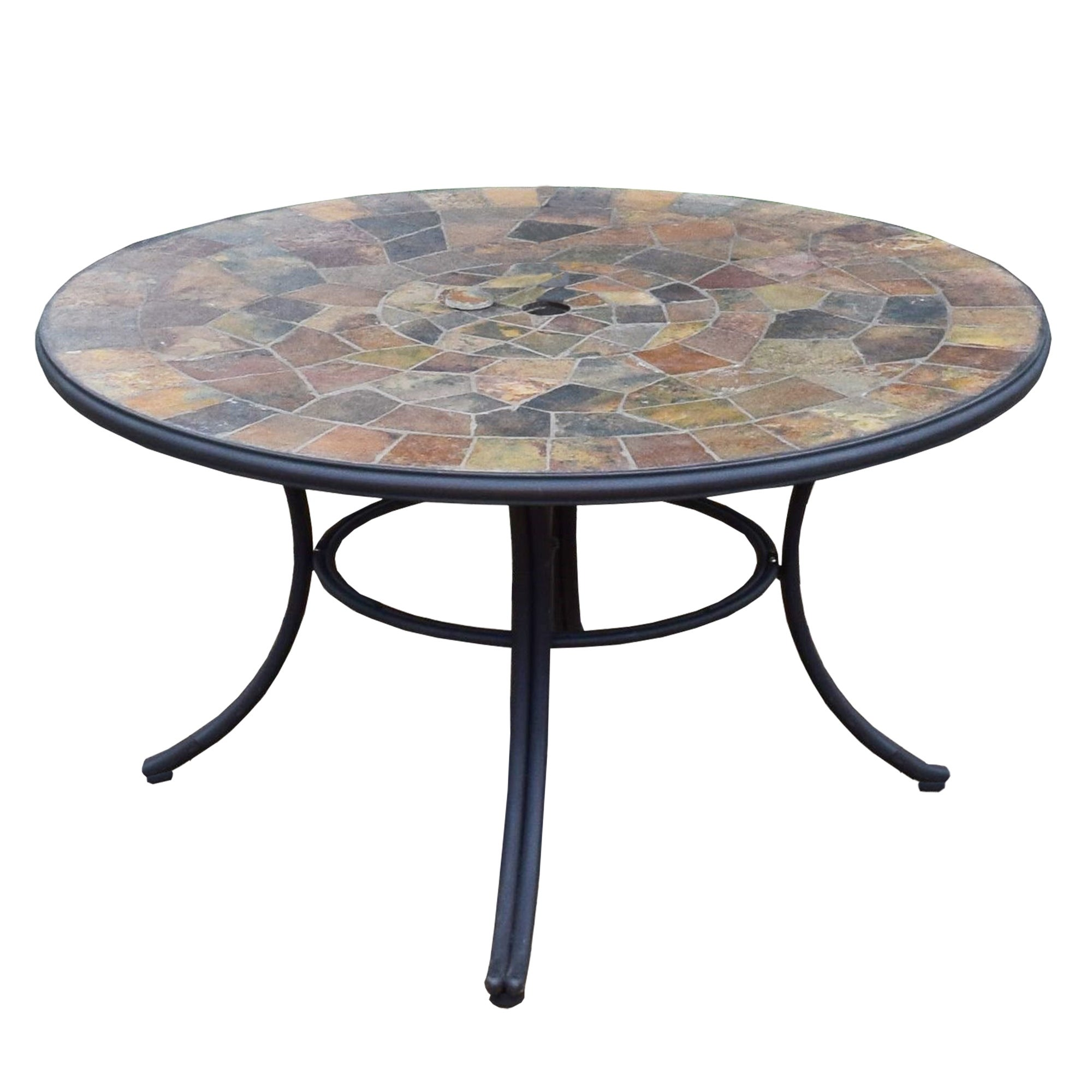 Black Stone Slate Round Outdoor 42 Inch Patio Deep Seating Dining Table Overstock 31781631