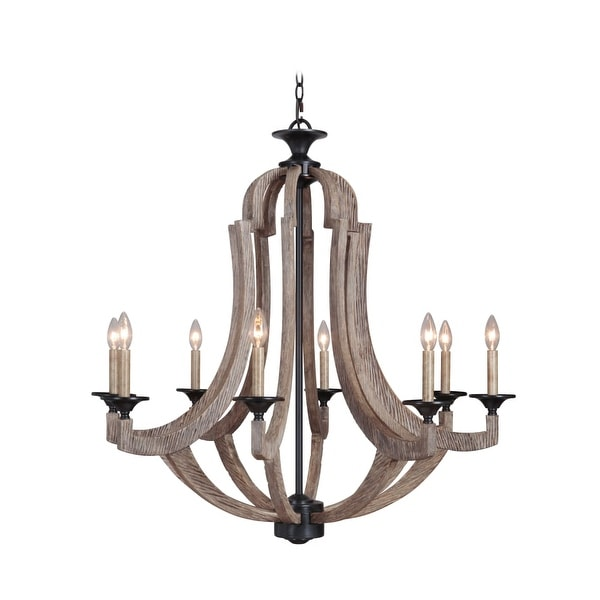 """Jeremiah Lighting 35128 Winton Single Tier 8-Light Candle Style Chandelier - 36"""" Wide - weathered pine"""