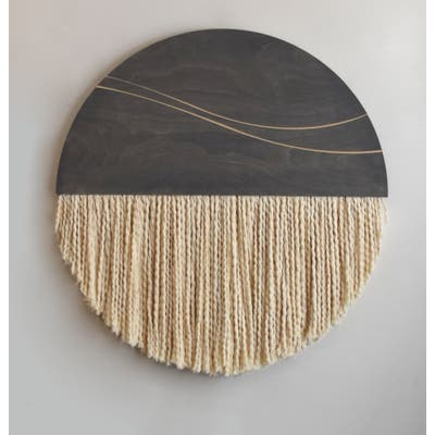 Gray Woodon Cotton Round Double Wave Wall Hanging - Natural