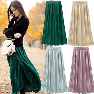 Women's Stylish Solid Color Metallic Pleated Elastic Waist Long Maxi Skirt