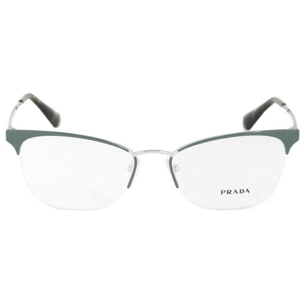 8ed94c32c755 Shop Prada PR65QV UEI1O1 Cat Eye | Green/Silver| Eyeglass Frames ...