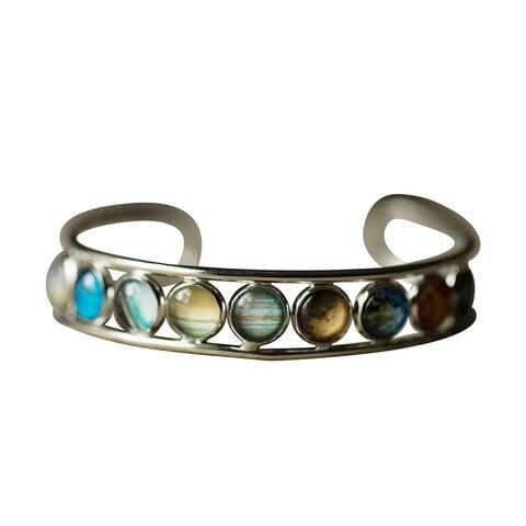Yugen Tribe Women's Solar System Cuff Bracelet - 9 Planet Themed Glass Beads Fashion Jewelry
