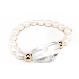 Freshwater Pearl & Crystal Quartz 'Rock Candy' stretch bracelet 14k Over Sterling Silver