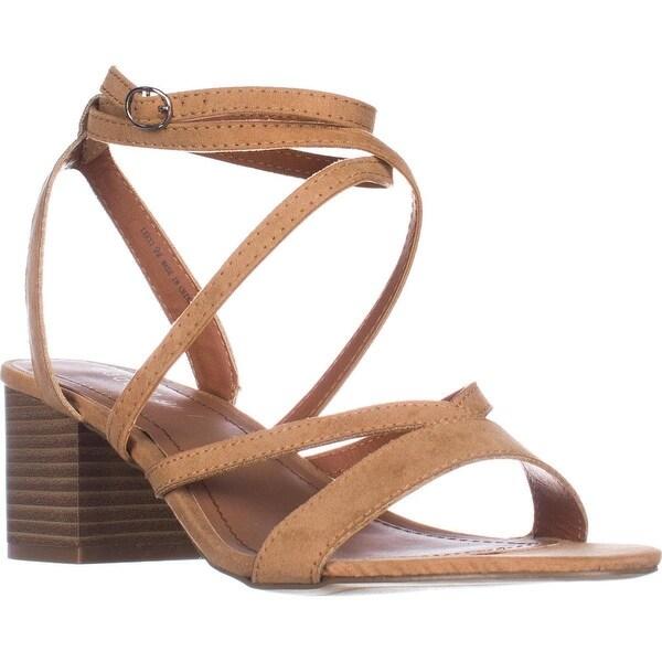 madden girl Leexi Block Heel Ankle Strap Dress Sandals, Camel