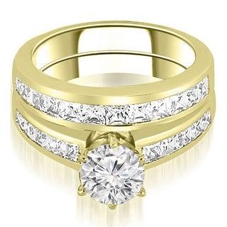 14K Yellow Gold 2 05 Ct Tw Channel Set Princess Cut Diamond Bridal Set