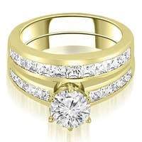 14K Yellow Gold 2.05 ct.tw Channel Set Princess Cut Diamond Bridal Set HI, SI1-2