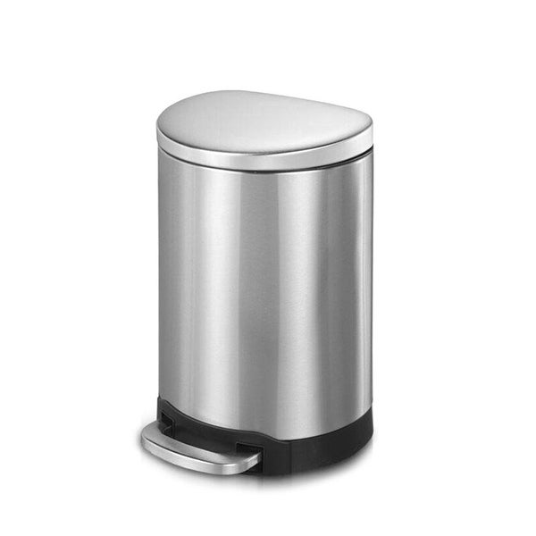 INNOVAZE 1.6 gallon/6 liter 3.2 gallon/12 liter fingerprint free brushed stainless steel semi-round step-on trash can. Opens flyout.