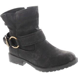 Dbdk Lucy-13 Women's Distressed Side Zipper Lug Sole Flat Heel Ankle Booties - Black