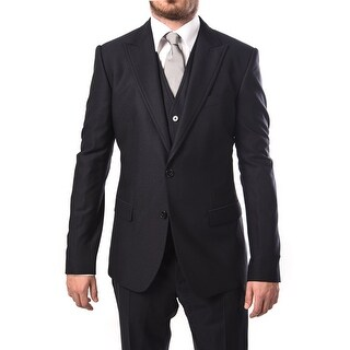 Dolce & Gabbana Men 2-Button Martini 3-Piece Wool Suit Navy