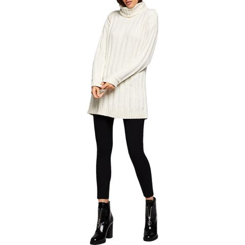 BCBGeneration Womens Tunic Sweater Ribbed Turtleneck