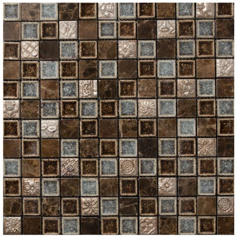 "Marbles 1"" x 1"" Glass Mosaic Tile (11 sheets/ 11 sq ft)-CASE - 12""X12"" case of 11"