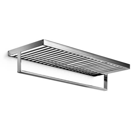 "WS Bath Collections Skuara 52867.29 23.6"" x 9.8"" Towel Shelf with Bar from the Skuara Collection - Polished Chrome"