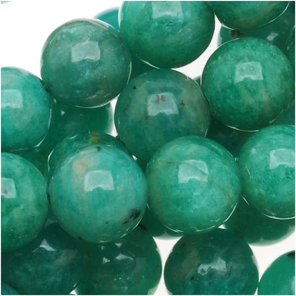 AA Green Russian Amazonite Gemstone 6mm Round Beads (15.5 Inch Strand)