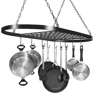 24''/31'' Pot Rack Ceiling Mount Cookware Rack Hanging Hanger Organizer with Hooks