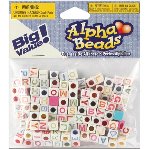 Alphabet Beads 6mm 160/Pkg-White W/Multicolor Letters - White