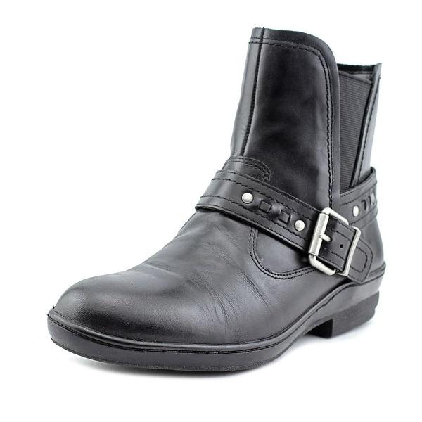 David Tate November Women Round Toe Leather Black Ankle Boot