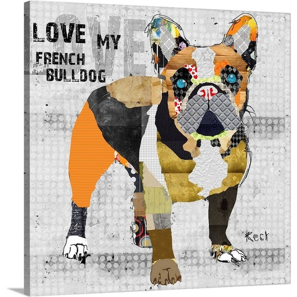 """""""French Bulldog with Text"""" Canvas Wall Art"""