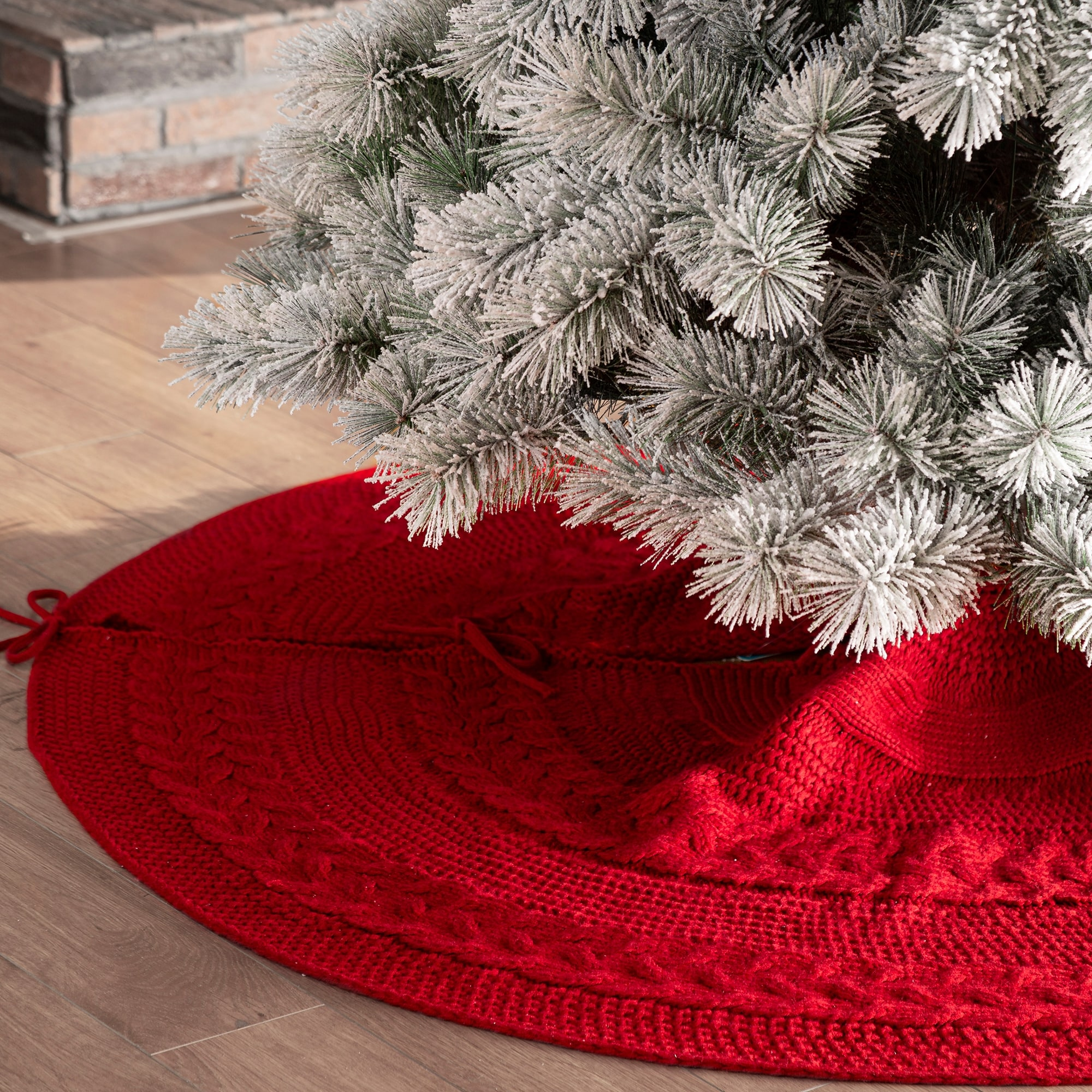 Meriwoods Fair Isle Knit Tree Skirt 48 Inch Chunky Knitted Tree Collar For Country Rustic Christmas Decorations Neutral Gray Cream White Home Kitchen Seasonal Decor