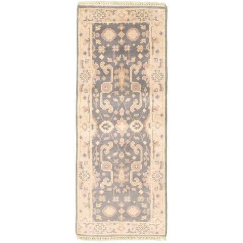 ECARPETGALLERY Hand-knotted Royal Ushak Grey Wool Rug - 2'5 x 6'2