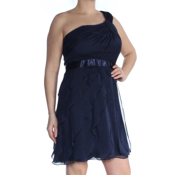 ADRIANNA PAPELL Womens Navy Ruffled Sleeveless Asymetrical Neckline Mini Empire Waist Formal Dress Size: 12