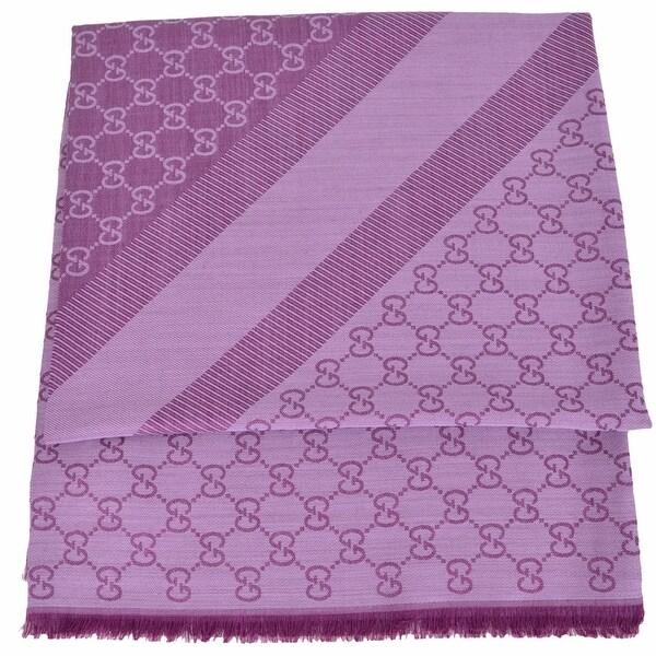 Gucci 281942 XL Wool Silk Lilac Plum GG Guccissima Logo Scarf Shawl Wrap