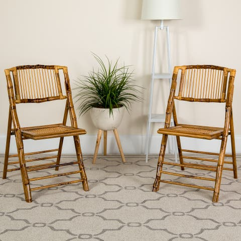 Bamboo Wood Event Folding Chairs (Set of 4)