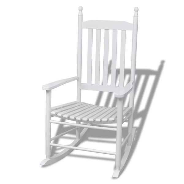 Shop vidaXL Rocking Chair with Curved Seat Wood White - Free ... on