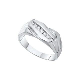 10kt White Gold Mens Round Natural Diamond Band Wedding Anniversary Ring 1/10 Cttw